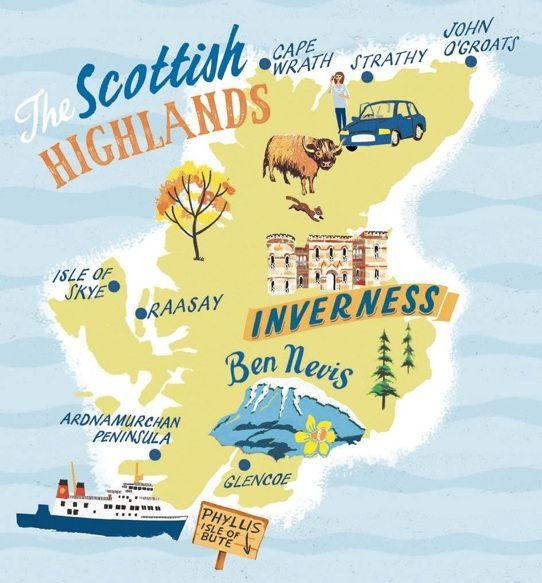 Scottish Highlands map Anna Simmons – Travel Map Of Scotland