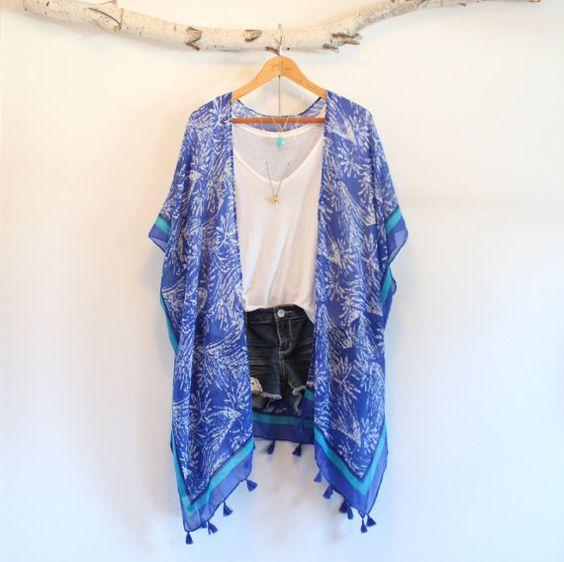 Long bohemian kimono   Blue jungle  Tassels  by NORTHBOHEME