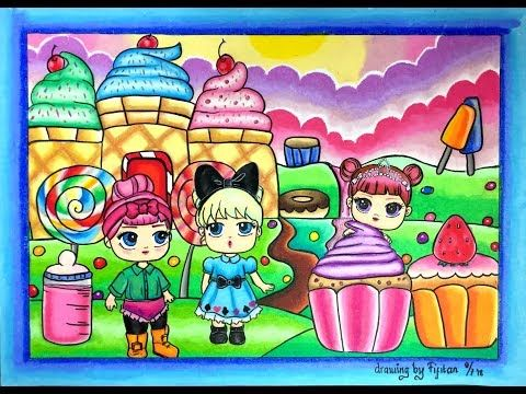 Drawing And Coloring Lols Suprise In Candy Land Using Oil Pastel