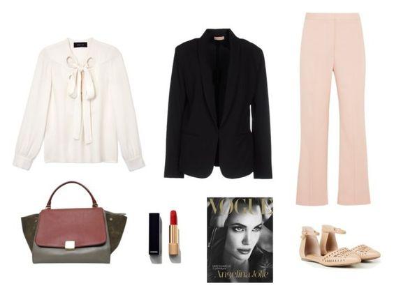 """Look Blazer Trabalho"" by alessa-passos on Polyvore featuring moda, Maesta, STELLA McCARTNEY, Derek Lam, CÉLINE e Chanel"