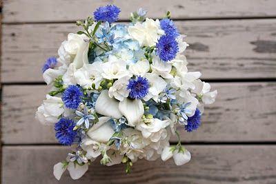 Bridal Bouquet of white sweet pea, white freesia, light blue tweedia, light blue hydrangea, white mini calla and bright blue cornflower... beautiful