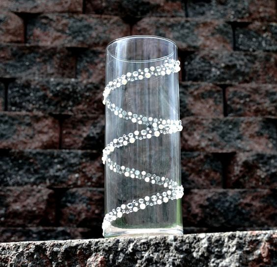 Cool Rhinestone Band Added To A Clear Cylinder Vase Love It Creative Ideas Pinterest