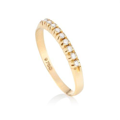 Meia Alianaça de Ouro Amarelo 18k com 18 pontos de diamantes - Coleção Meia Aliança
