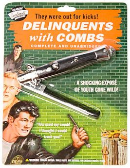 Delinquents With Combs Flip Comb --- see the way it flips? Make Hawkeye's bow like that so you can put it away at Comic Con!