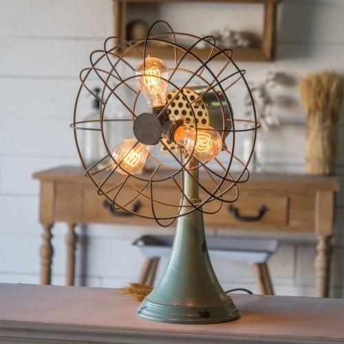 Repurposing An Everyday Household Item To Light Up Your Office Or Living Room Our Faux Fan Table Lamp Is Secure Rustic Bedroom Design Rustic Bedroom Fan Light