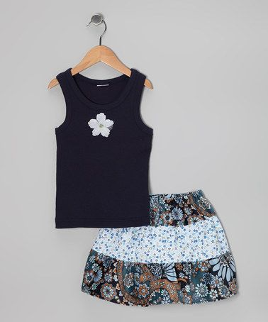 Take a look at this Blue & Brown Paisley Tank & Skirt - Toddler & Girls by Ruby and Rosie on #zulily today!