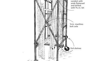 It's always useful to have wheels under bulky tools and materials that need to be moved around. The drawing shows how I took advantage of my scaffold frames with wheels to …