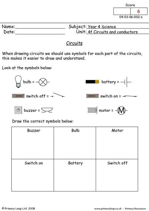 circuit symbols worksheet science printable worksheets primaryleap pinterest symbols. Black Bedroom Furniture Sets. Home Design Ideas