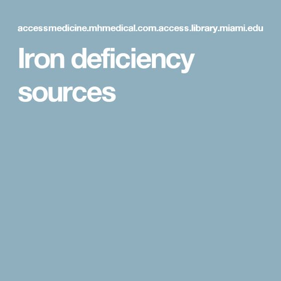 Iron deficiency sources