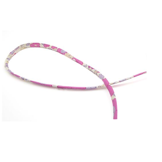 1m cordon spaghetti Liberty Betsy Bougainvillée fleurs roses et lilas sur fond blanc 4mm - 1 mètre cordon liberty : Rubans, biais pour bijoux par mf-apprets-et-perles