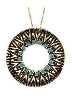 House of Harlow 1960 Gold Circle Pendant Necklace in Turquoise
