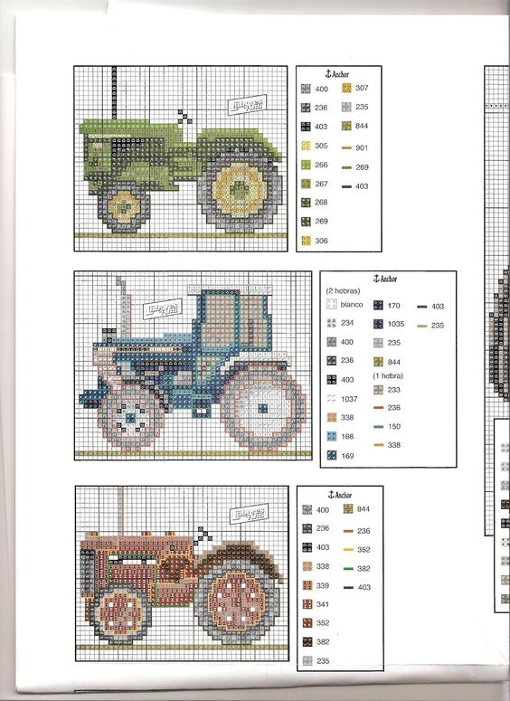 Trator Ponto Cruz. / Cross Stitch Tractor.