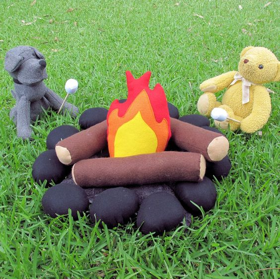Keep warm by the campfire. Perfect indoor imaginative play with an indoor cubby house or tee pee.
