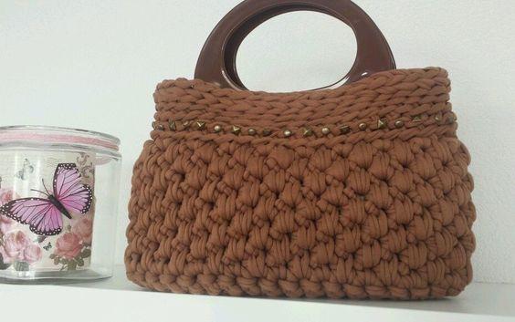 Tasche aus Stoffgarn KS Stil Einzigartig &Individuell Bolso Trapillo Borsa Uncinetto