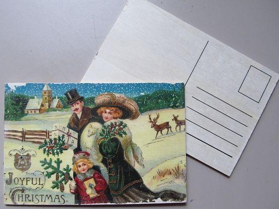 Holz Postkarte Weihnachten mit Nostalgiemotiv von Astrid`s Papeterie  auf DaWanda.com
