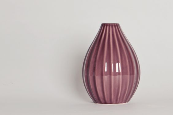 Purple tall striped vase