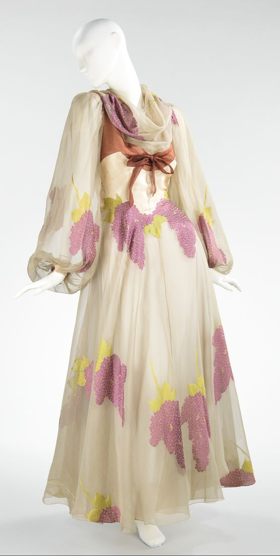 """Evening Dress, Charles James (American, born Great Britain, 1906–1978): 1944, American, silk. """"...Millicent Rogers was an important James client for whom he designed from the mid-1930s until her death in 1953. They collaborated on many of the designs for her dresses, Rogers suggesting fabric, color and sometimes cut. The collection holds a total of 65 of her garments by James and 78 supporting materials used in the creation of them..."""""""