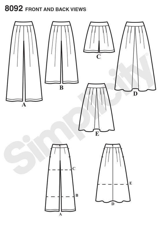 Simplicity 8092 Misses' Skirts, Pants, Culottes and Shorts