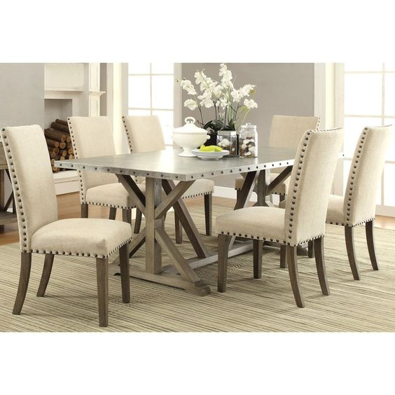 Rosemarin transitional driftwood and metal dining set for Dining room outlet reviews