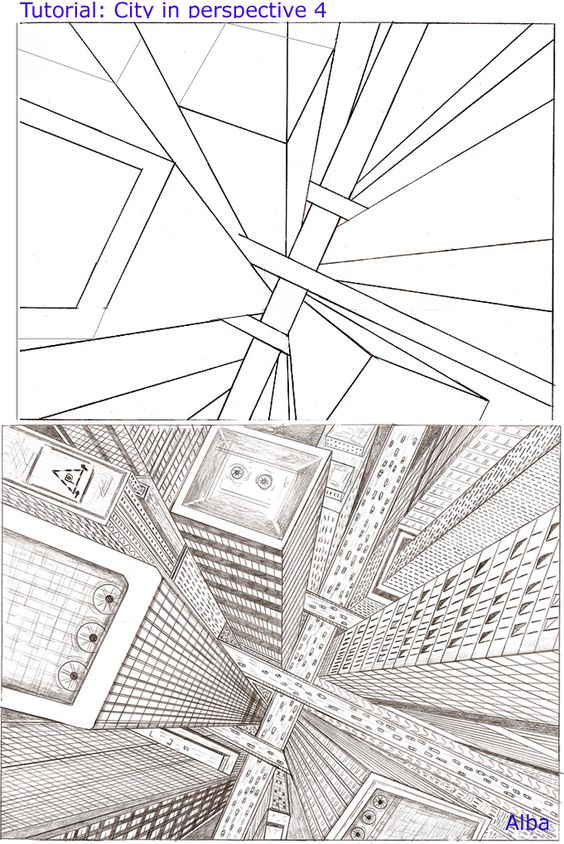 Architecture Drawing Tutorial tutorial city perspective 4~lamorghana | drawing tutorials
