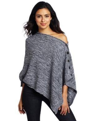 525 America Women\'s Tweed Poncho Sweater