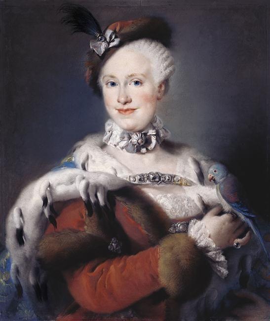 Portrait de l'infante Marie-Louise de Bourbon (1745-1792) with her pet bird…: