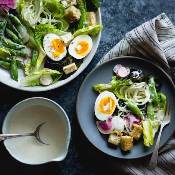 Spring greens salad with fennel, radish & miso-buttermilk dressing #yum: