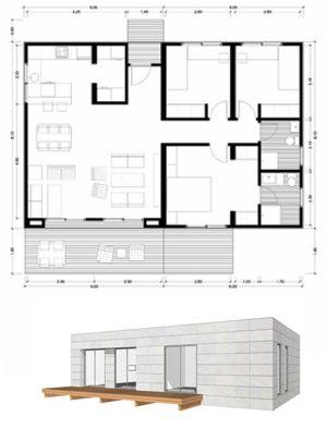 Planos casas de madera prefabricadas plano de casa 100 m2 - Planos casas modulares ...