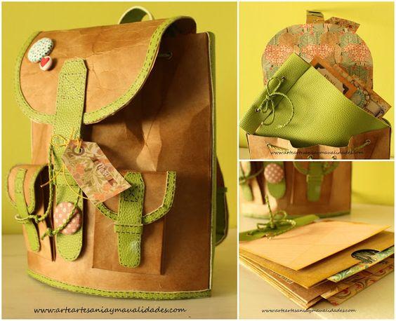 Arte, Artesania y Manualidades: Mochila de papel y álbum de viaje Scrapbooking