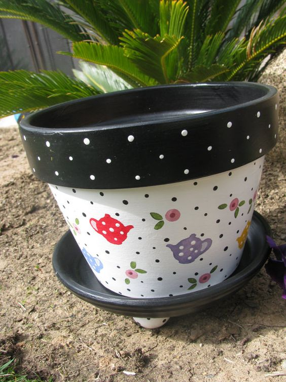 Flower pot ... Tea Pot Multi Color by bubee on Etsy, $20.00