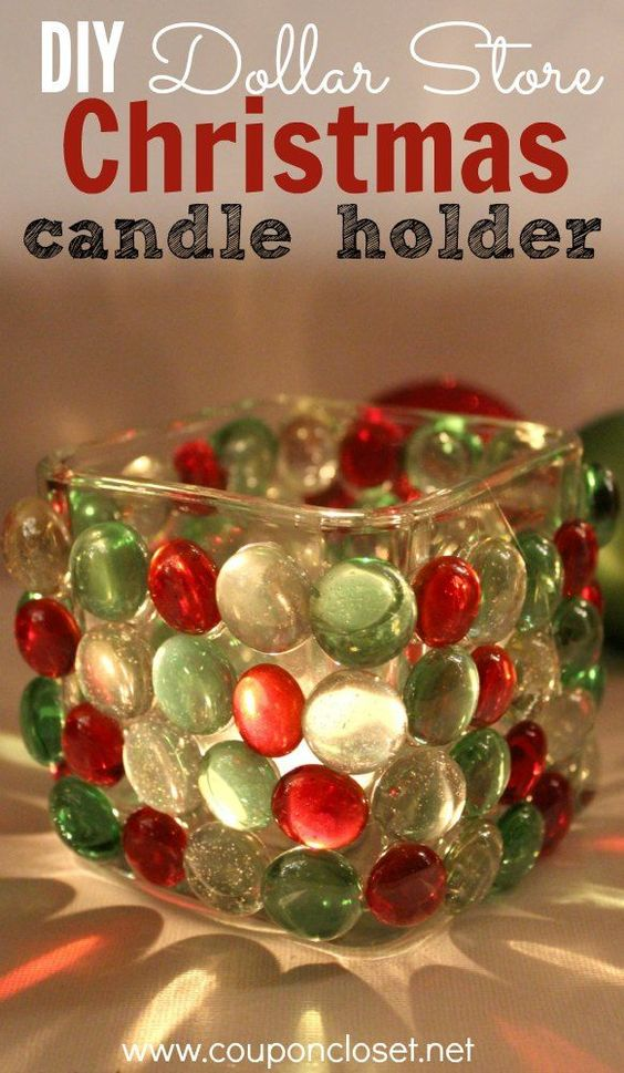 diy Christmas candle holder. glue flat glass marbles onto a glass candle holder #fabulous