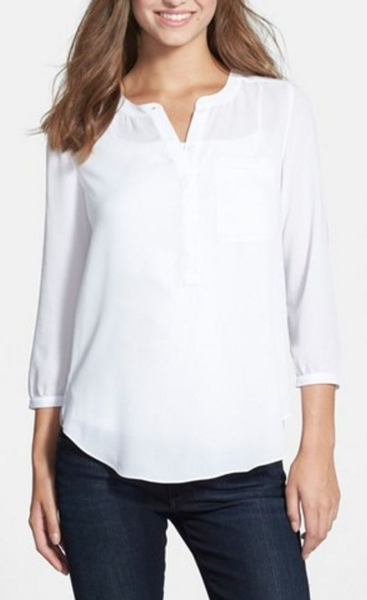 White henley blouse