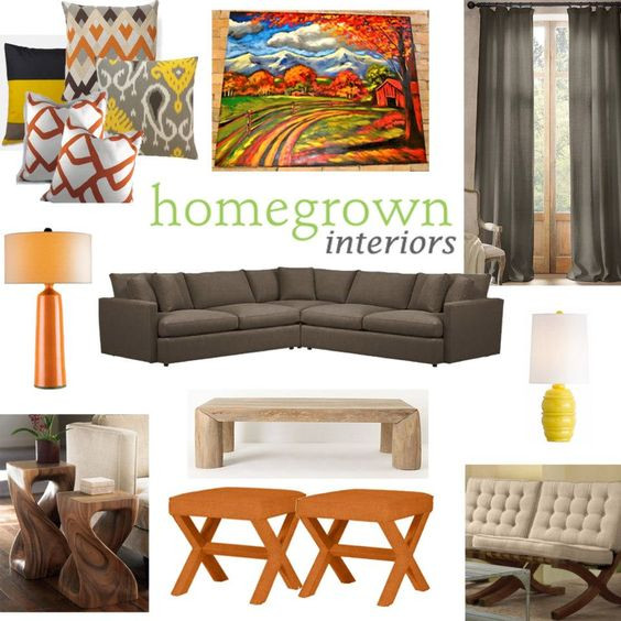 Orange and grey living room moving ideas pinterest for Orange and grey dining room