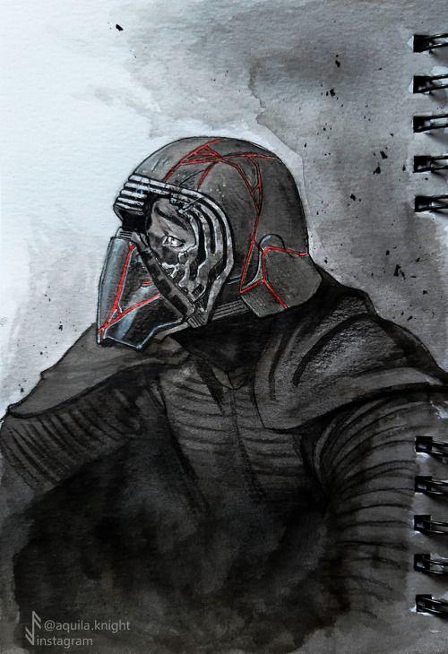 Kylo Ren With Cracked Mask Fan Art For Star Wars The Rise Of Skywalker Star Wars Art Star Wars Fan Art Star Wars Wallpaper