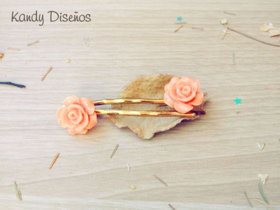 Horquillas Flores Melocotón. 2 Rosas Pin Oro, Complementos, Horquillas, Bisutería, Pelo, Bodas, Joyería