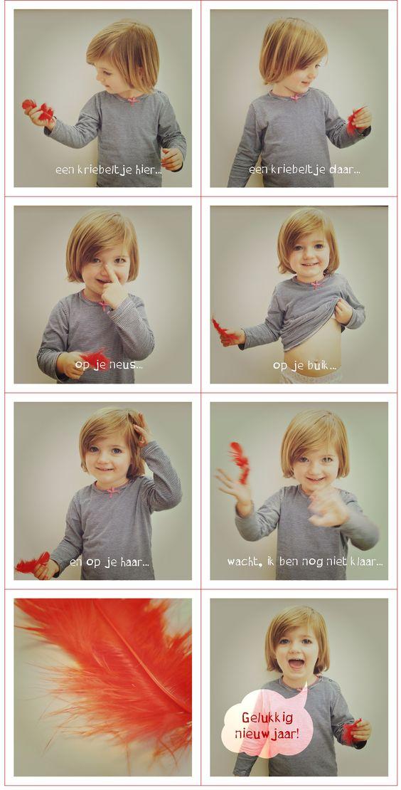 Nieuwjaarswensen - nieuwjaarsbrief - kleuter - peuter - kriebeltje - foto - pluim - gelukkig nieuwjaar - neus / buik / haar - foto - newyear wishes / photo / toddler / child