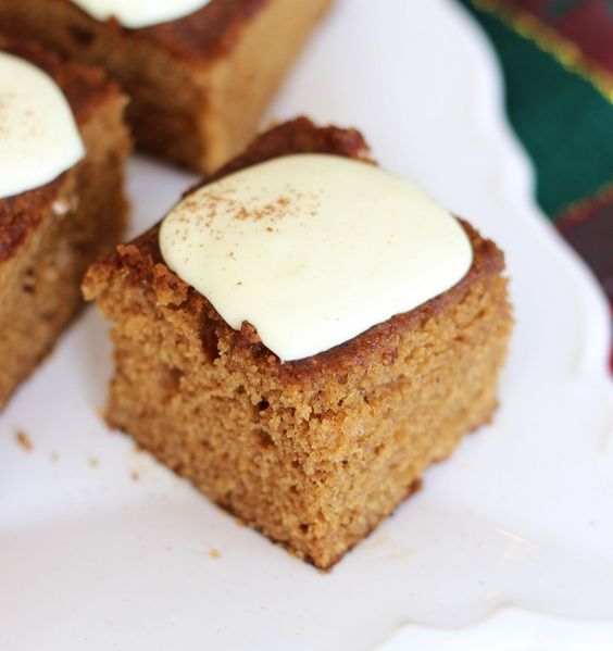 The Gold Lining Girl | Easy Gingerbread Snack Cake with Lemon Cream Cheese Icing | http://thegoldlininggirl.com