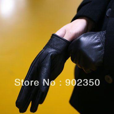 winter fashion mens sheepskin gloves plush inside warm outdoor leather gloves solid color black  D129