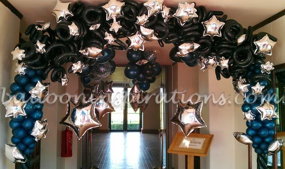 Prom theme ideas starry night themed prom party for Balloon decoration london