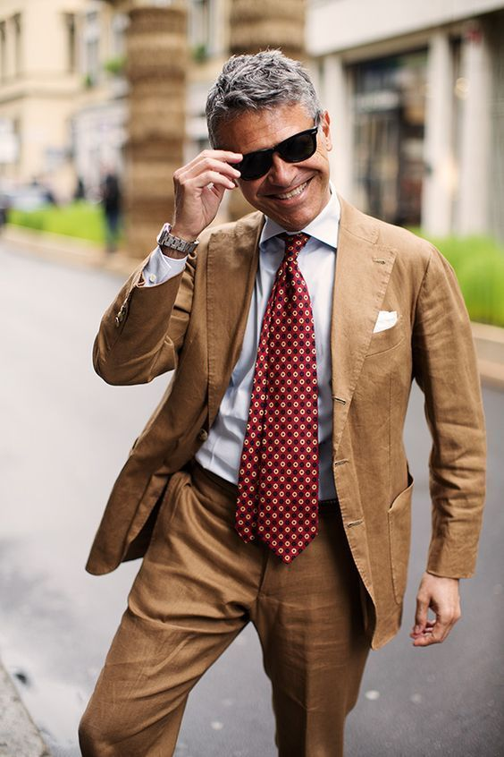 Light Brown Suit With Red Necktie With Images Mens Street