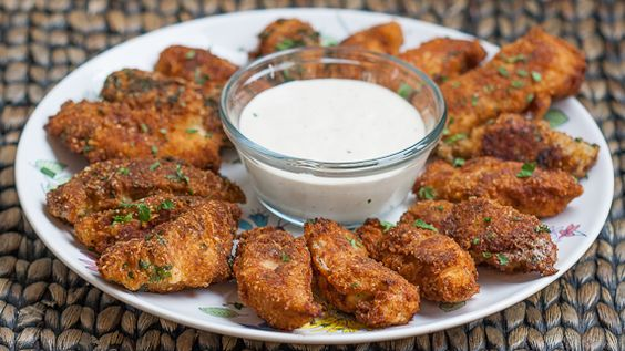 Parmesan Chicken Strips with Ranch Dressing