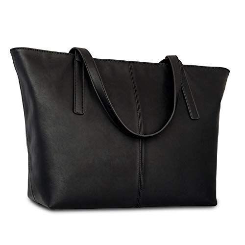 Sac /à main en cuir artificiel haute qualit/é Grand sac /à bandouli/ère pour femmes avec compartiments /& fermeture /éclaire Expatri/é Sac /à main fourre-tout marron cuir v/ég/étalien pour femmes