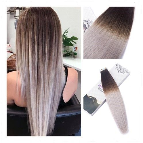 Dark Brown Fading To Light Silver Ombre Balayage Tape In Hair