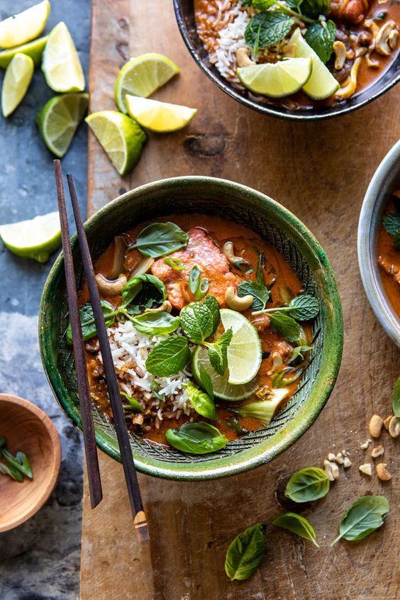 Saucy 30 Minute Thai Basil Salmon Curry   halfbakedharvest.com #healthyrecipes #salmon #curry #winterrecipes #thairecipes