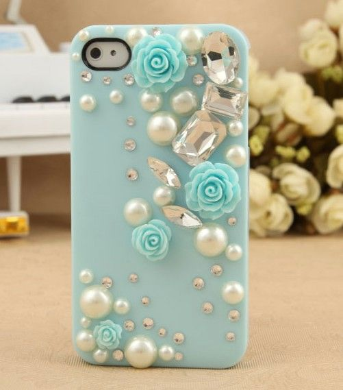 Rose Back Case with Diamonds for iPhone4 4S - Apple Accessories - Funny Gadgets Free shipping