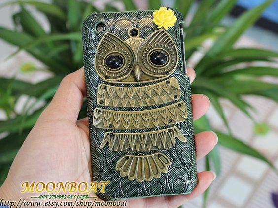 Personalized Antique Brass Cute Owl And Hard Case Cover for Apple iPhone 3 Case, iPhone 3gs Case, iPhone 3 Hard Case, iPhone Case MB3G-3. $9.99, via Etsy.