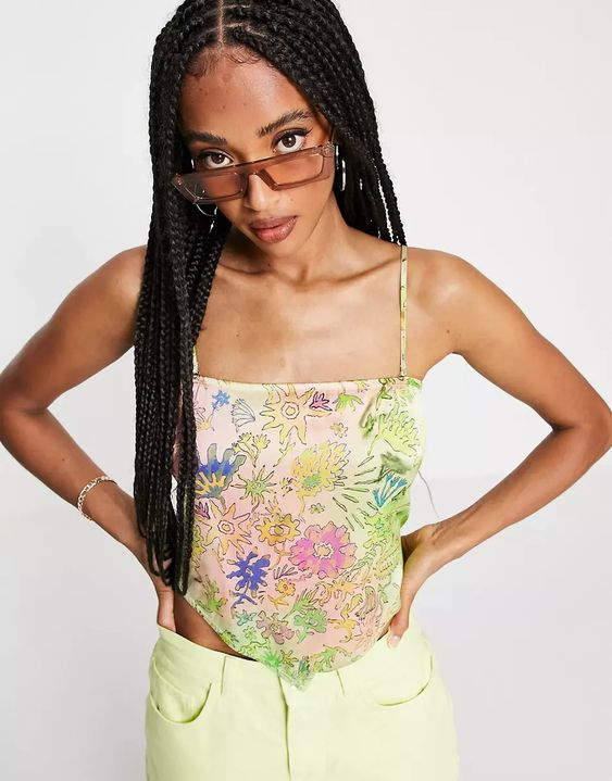 Weekday Armelle scarf top with tie back in floral print