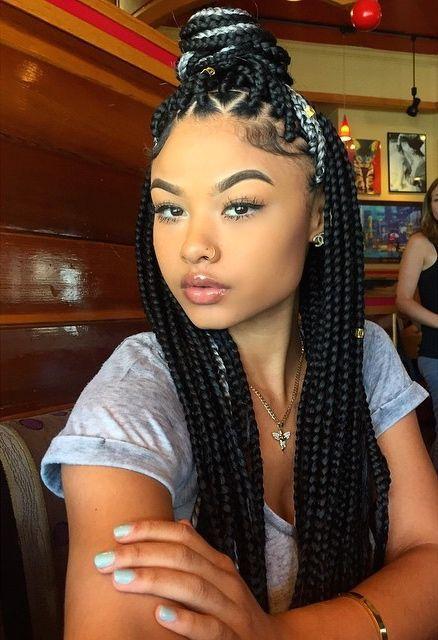 Super Box Braids Black Braided Hairstyles And Grey Box Braids On Pinterest Short Hairstyles For Black Women Fulllsitofus