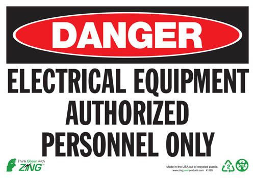 Sign, Danger Electrical Equipment, 7x10, Self-Adhesive