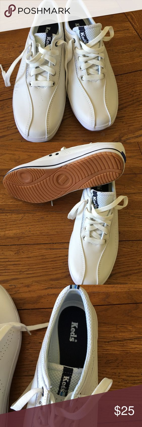 Super cute leather Keds New never worn no box  bright white keds Shoes Sneakers